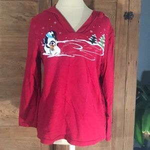 Sweaters - RED CHRISTMAS HOODIE PENGUIN TREES SZ M 8/10